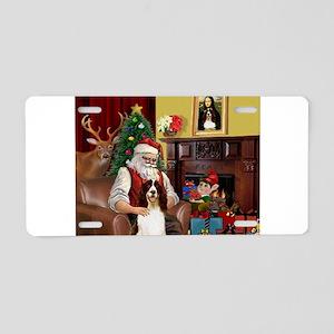 Santa & His Springer Aluminum License Plate