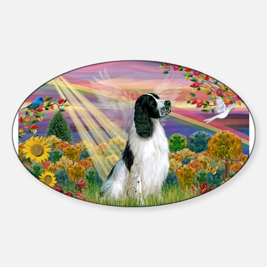 Autumn Angel & Eng. Springer Sticker (Oval)