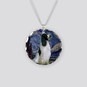 Starry Night English Springer Necklace Circle Char