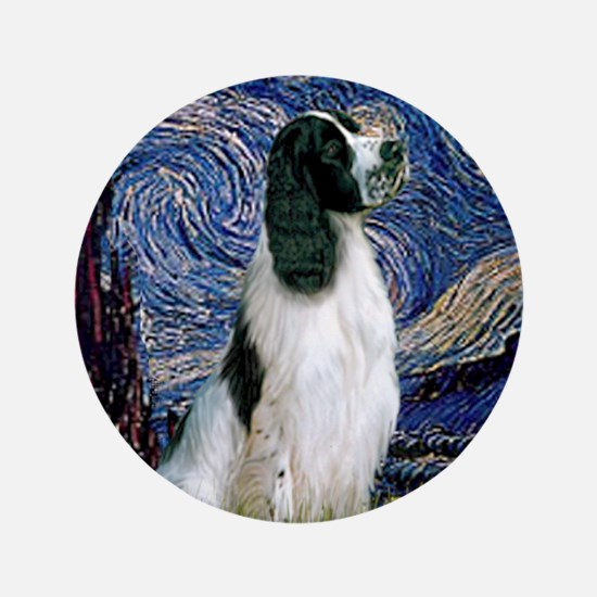 "Starry Night English Springer 3.5"" Button"