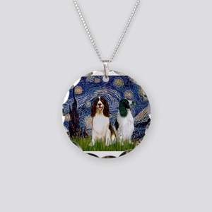 Starry Night & Springer Necklace Circle Charm