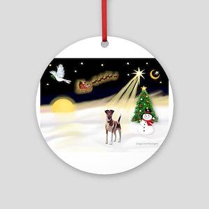 Night Flight/Fox Terrier Ornament (Round)