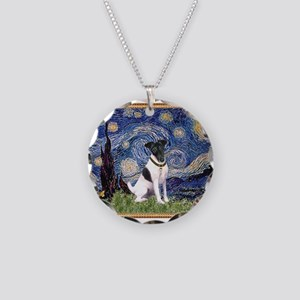 Starry Night Fox Terrier (#1) Necklace Circle Char