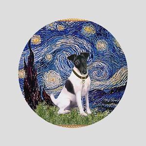 "Starry Night Fox Terrier (#1) 3.5"" Button"