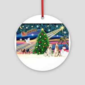 Xmas Magic & Wire Fox T pair Ornament (Round)