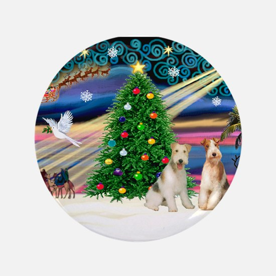"Xmas Magic & Wire Fox T pair 3.5"" Button"