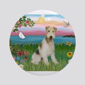 Lighthouse & Wire Fox Terrier Ornament (Round)