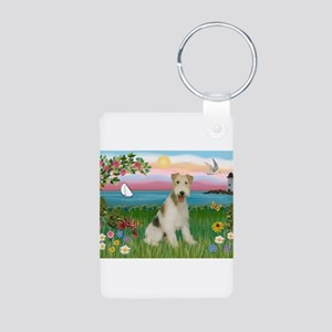 Lighthouse & Wire Fox Terrier Aluminum Photo Keych