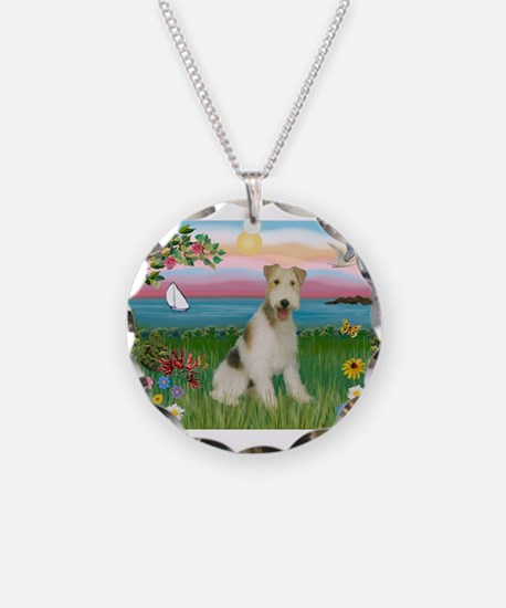 Lighthouse & Wire Fox Terrier Necklace Circle Char