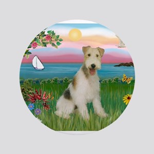 "Lighthouse & Wire Fox Terrier 3.5"" Button"