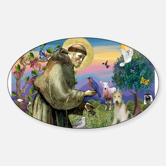 St. Francis & Wire Fox Terrier Sticker (Oval)