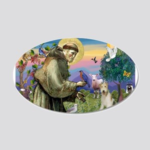 St. Francis & Wire Fox Terrier 20x12 Oval Wall Dec