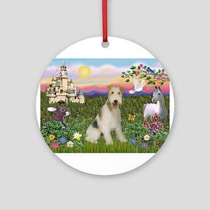 Castle & Wire Fox Terrier Ornament (Round)