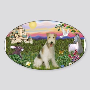 Castle & Wire Fox Terrier Sticker (Oval)