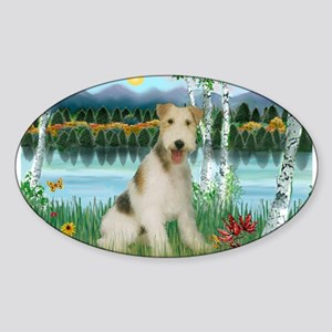 Wire Fox Terrier in Birches Sticker (Oval)