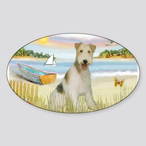 Rowboat & Wire Fox Terrier Sticker (Oval)