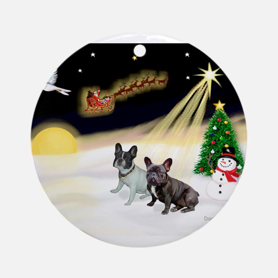Night Flight/2 Fr Bulldogs Ornament (Round)