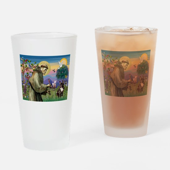 St. Francis Brindle Frenchie Drinking Glass