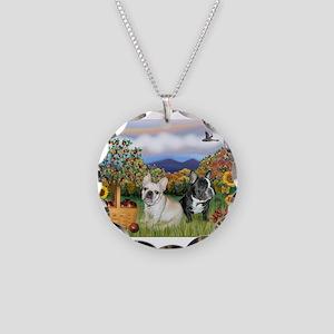 French Bulldog Picnic Necklace Circle Charm