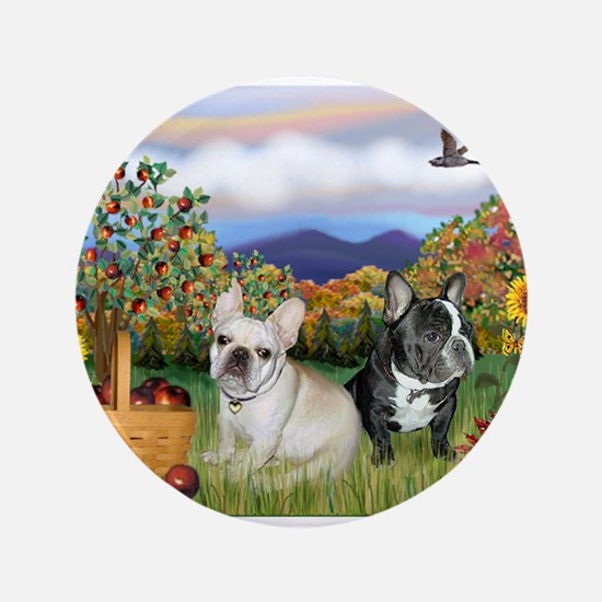 "French Bulldog Picnic 3.5"" Button"