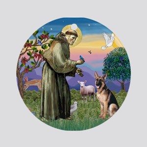 St Francis & G-Shepherd #2 Ornament (Round)