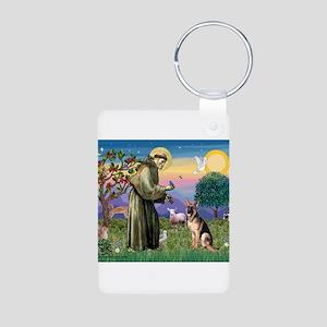 St Francis & G-Shepherd #2 Aluminum Photo Keychain