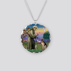 St Francis & G-Shepherd #2 Necklace Circle Charm