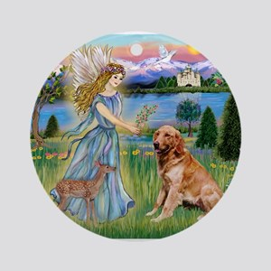 Garden Angel / Golden Sticker Ornament (Round)