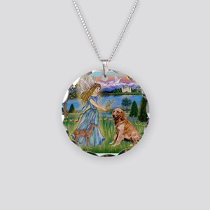 Garden Angel / Golden Sticker Necklace Circle Char