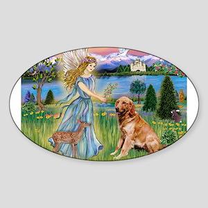 Garden Angel / Golden Sticker Sticker (Oval)
