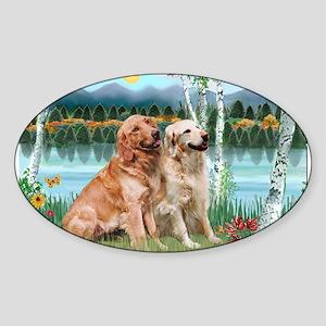 Birches / Golden Sticker (Oval)