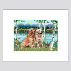 Birches / Golden Small Poster