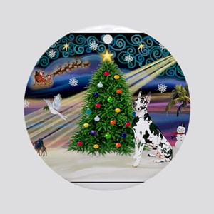 Xmas Magic Great Dane (H) Ornament (Round)