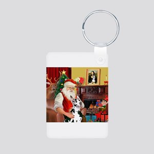 Santa's Great Dane (H) Aluminum Photo Keychain