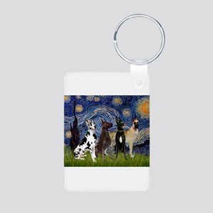 Starry Night / 4 Great Danes Aluminum Photo Keycha