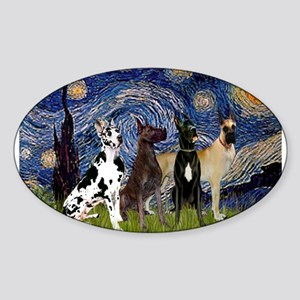 Starry Night / 4 Great Danes Sticker (Oval)