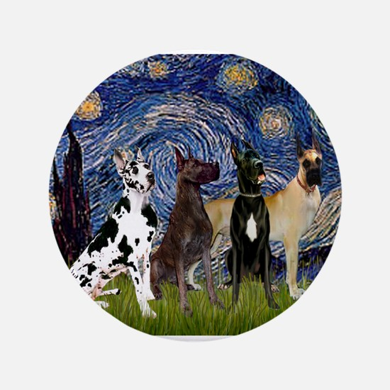 "Starry Night / 4 Great Danes 3.5"" Button"