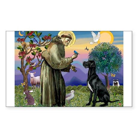 St Francis / Black G-Dane (N) Sticker (Rectangle)
