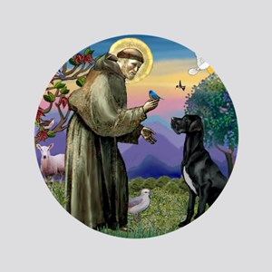 "St Francis / Black G-Dane (N) 3.5"" Button"