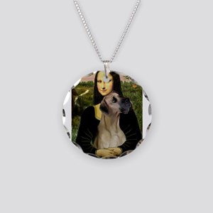 Mona's Fawn Great Dane Necklace Circle Charm