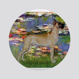 Monet's Lilies & Great Dane Ornament (Round)