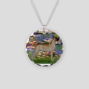 Monet's Lilies & Great Dane Necklace Circle Ch