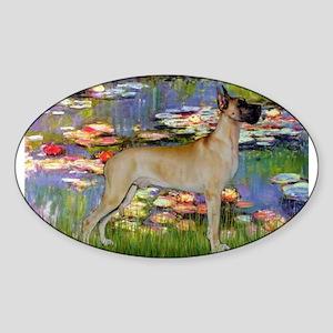 Monet's Lilies & Great Dane Sticker (Oval)