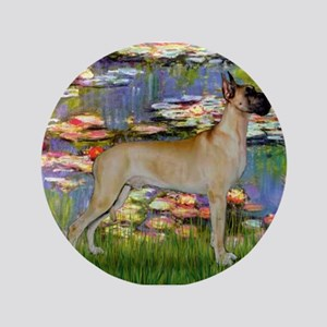 "Monet's Lilies & Great Dane 3.5"" Button"