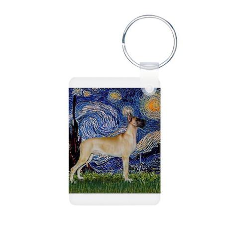Starry Night Great Dane Aluminum Photo Keychain