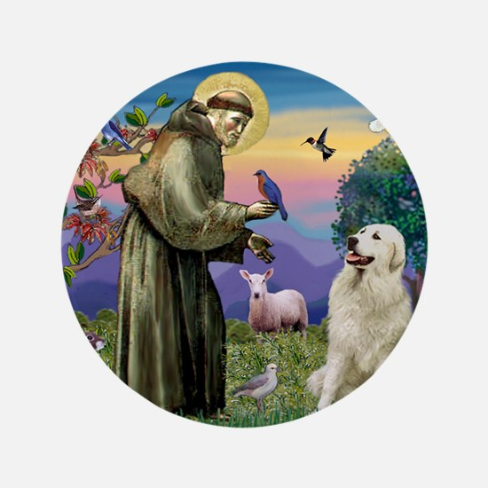 "St. Francis & Great Pyrenees 3.5"" Button"