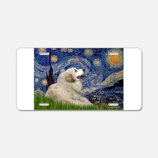 Starry Night Great Pyrenees Aluminum License Plate
