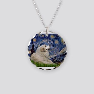 Starry Night Great Pyrenees Necklace Circle Charm