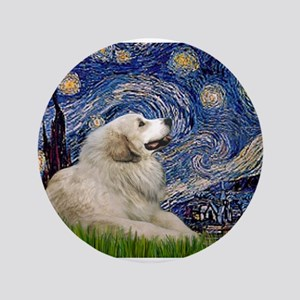 """Starry Night Great Pyrenees 3.5"""" Button"""