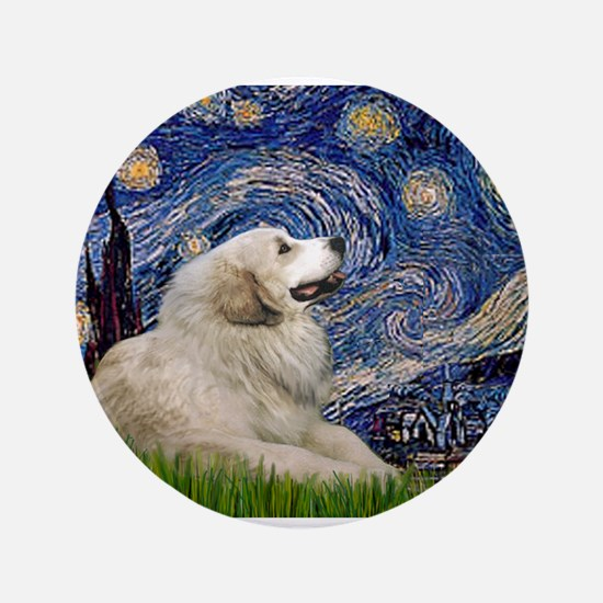 "Starry Night Great Pyrenees 3.5"" Button"